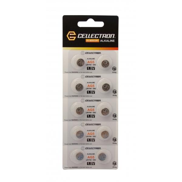 AG5 10 pila botón alcalina AG5 / LR754 / 393 1,5V Cellectron