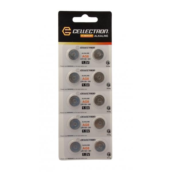 AG8 10 pila botón alcalina AG8 / LR1120 / 391 1,5V Cellectron