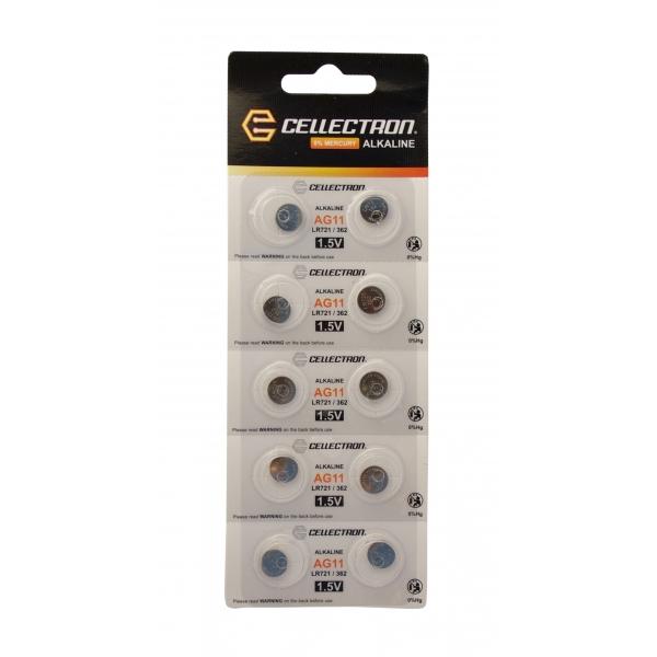 AG11 10 pila botón alcalina AG11 / LR721 / 362 1,5V Cellectron