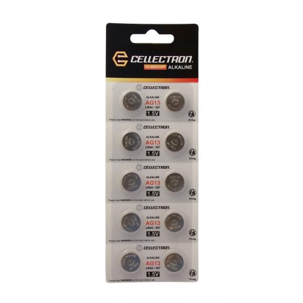 AG13 10 pila botón alcalina AG13 / LR44 / 357 1,5V Cellectron