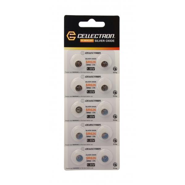 SR626 10 Pila botón Óxido de plata SR626/ SR66/ 376 1,55V Cellectron