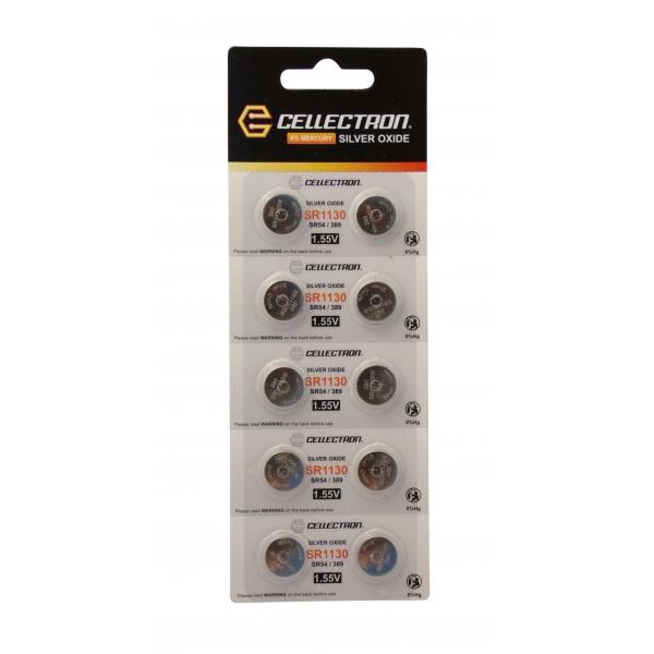 SR1130 10 Pila botón Óxido de plata SR1130/SR54 / 389 1,55V Cellectron