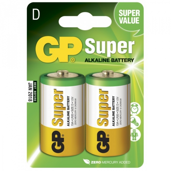 Pila alcalina 2 x D / LR20 - 1,5V - GP Battery