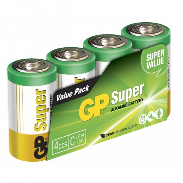 Pilas alcalina 4 x C / LR14 SUPER - 1,5V - GP Battery