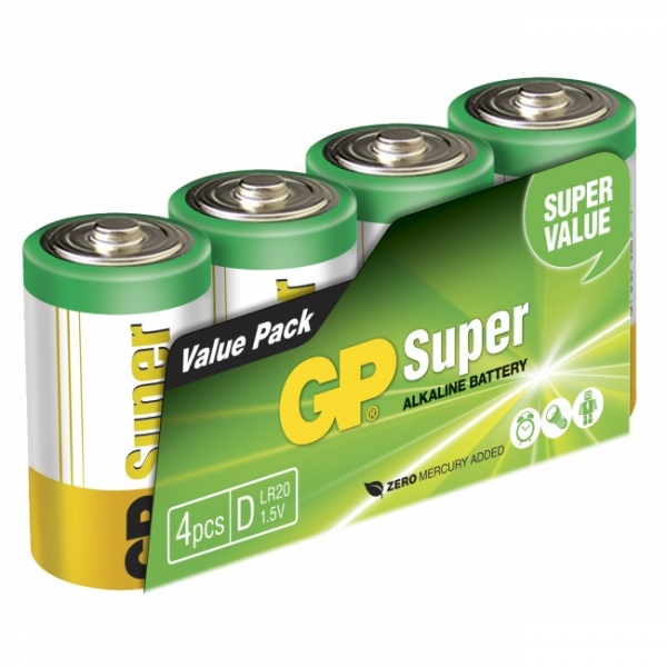 Pilas alcalina 4 x D / LR20 SUPER - 1,5V - GP Battery