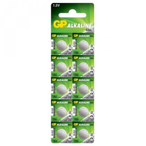 Pila botón alcalina 10 x GP 186 / LR43 / V12GA - 1,5V - GP Battery