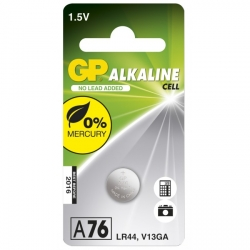 Pila botón alcalina GP A76 / LR44 / V13GA - 1,5V - GP Battery